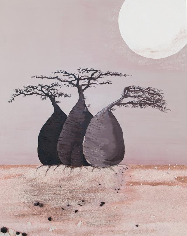 """""""Baobabs - trois amis"""" - 100 x 80"""