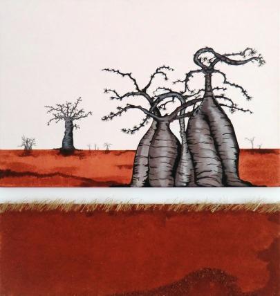 """""""Baobabs en terre rouge 1 et 2"""" Diptyque - 60 x 40 / 60 x 20"""