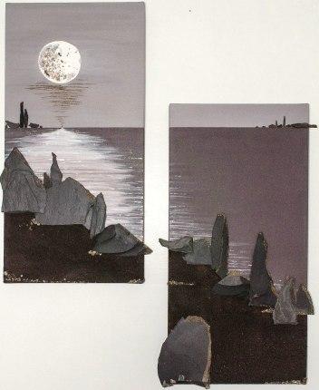 """""""Poussières de lune - diptyque"""" - 60 x 30"""