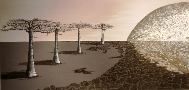 """""""Baobabs en clair de lune - 2"""" - 100 x 50"""